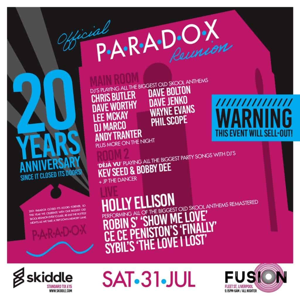 Fusion Liverpool announce Paradox 20 year Reunion this Summer