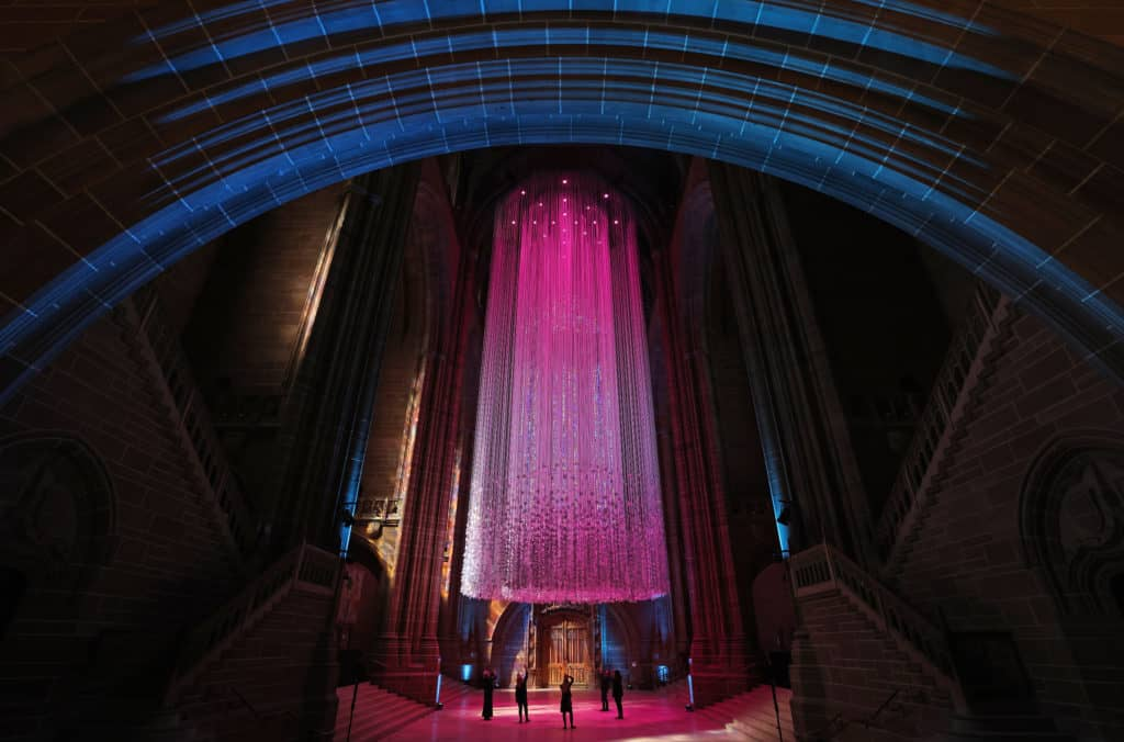 Liverpool Cathedral spectacular art installation takes flight