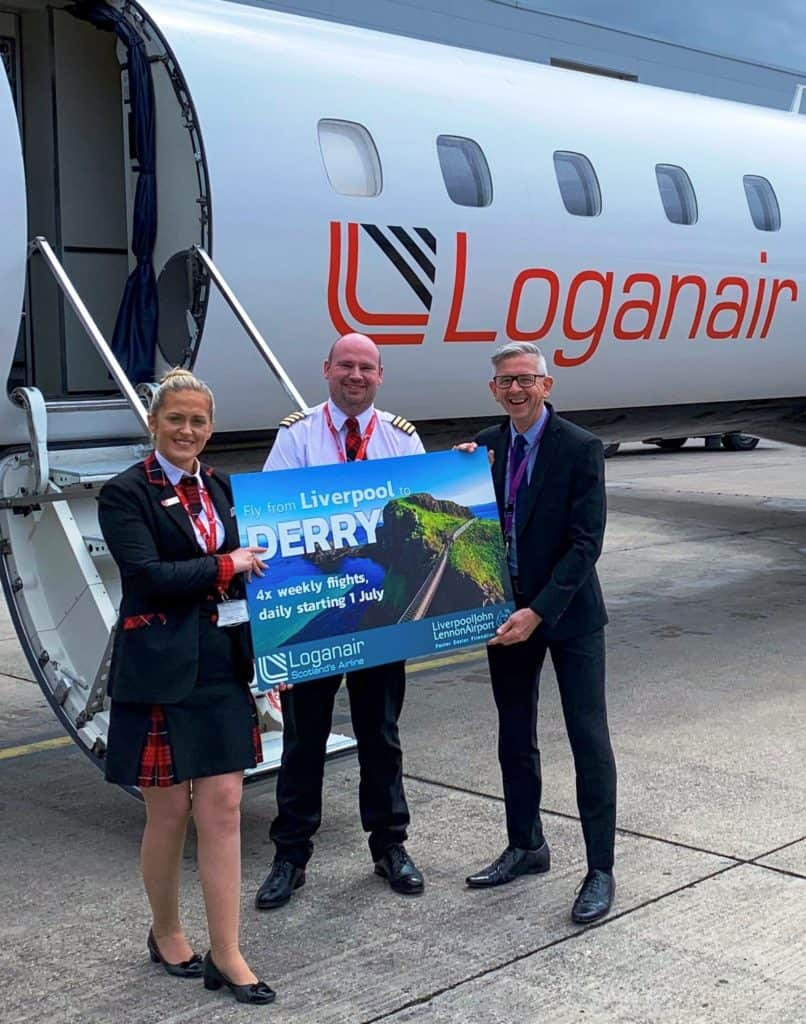 LJLA welcomed Loganair's first flight between Liverpool and Derry